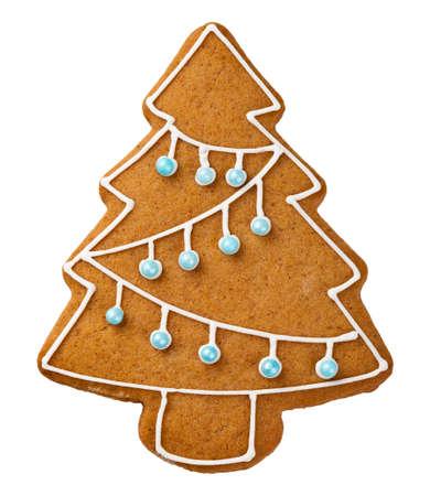 Albero di pan di zenzero isolato su sfondo bianco. Biscotto di Natale Archivio Fotografico - 23310809