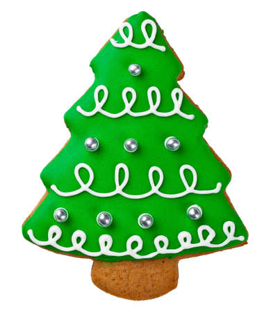 Gingerbread tree isolated on white background. Christmas cookie Stock Photo - 23310813
