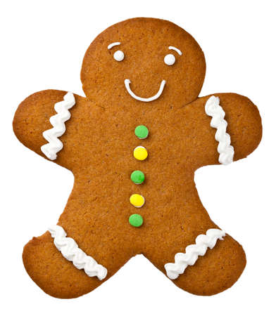 gingerbread man: Gingerbread man isolated on white background. Christmas cookie Stock Photo