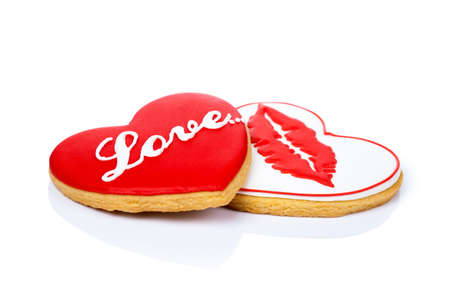 Cookies in shape of heart on white background for Valentines Day photo