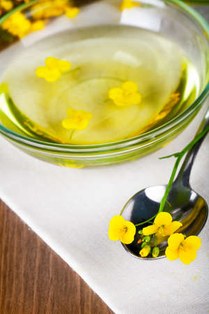 Rapeseed oil with rapeseed blossoms on table background photo
