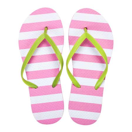Summer flip flops isolated on white background.