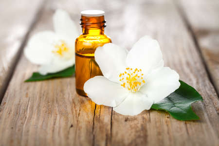 Jasmine flowers with essential oil on table background. Beauty treatment Stock Photo