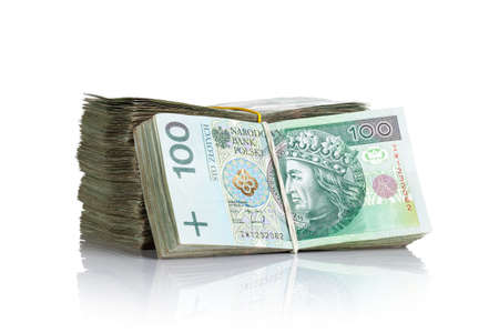 Polish money banknotes on white background. Stack of cash