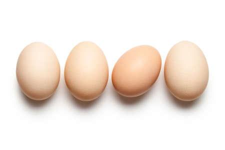 huevo blanco: Los huevos de gallina en el fondo blanco. Vista superior