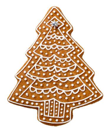 Gingerbread cookie in forma di albero di Natale isolato su sfondo bianco Archivio Fotografico - 33645857