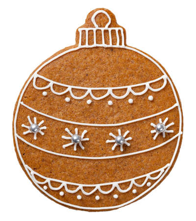 Christmas gingerbread ball cookie isolated on white background