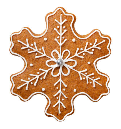 Gingerbread cookie for Christmas isolated on white background. Star shape cookie