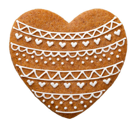 gingerbread heart: Heart gingerbread cookie for Christmas isolated on white background Stock Photo
