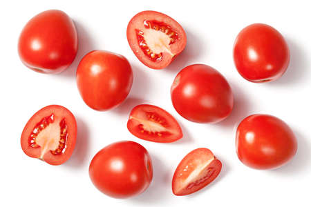 tomate cherry: tomates frescos en el fondo blanco con sombra natural. Vista superior Foto de archivo