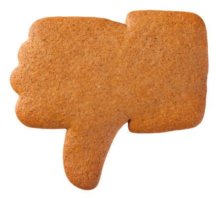 Gingerbread dislike cookie isolated on white background. Top view
