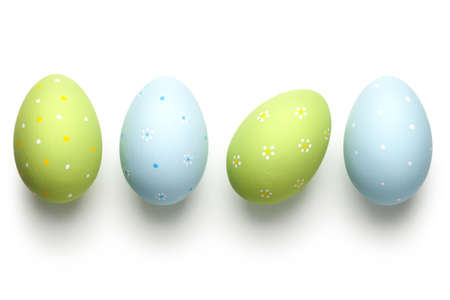 blue egg: Easter eggs on white background. Easter concept. Top view Stock Photo