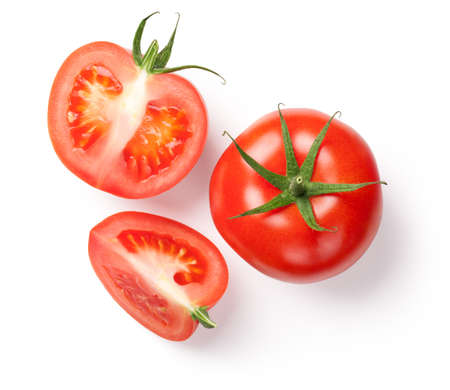 Fresh tomatoes on white background. Top view Banque d'images