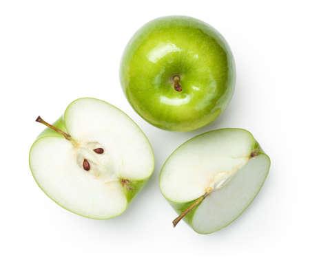 전망: 흰색 배경에 신선한 할머니 스미스 사과입니다. 평면도 스톡 콘텐츠