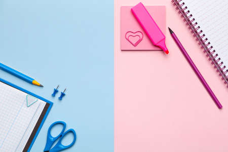 Colorful sticky notes on pastel background. Minimal style. Flat lay. Copy space. Top view
