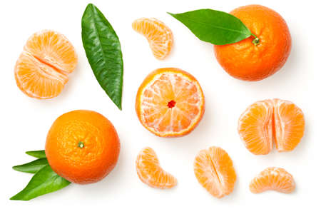 Mandarines, tangerine, clementine with leaves isolated on white background. Top view