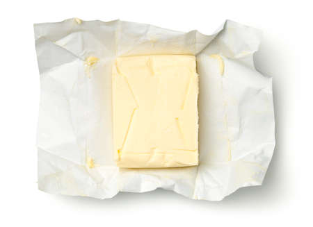 Butter isolated on white background. Top view