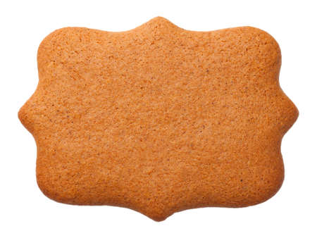 Gingerbread cookie in shape of label isolated on white background. Top view