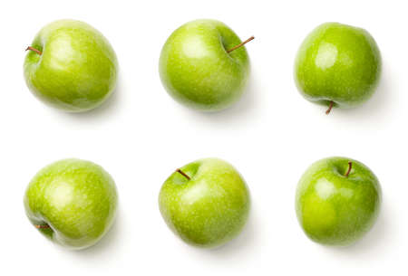 Green apples isolated on white background. Granny smith apples. Top view Stok Fotoğraf - 100182720