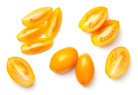 Yellow plum tomatoes isolated on white background. Top view