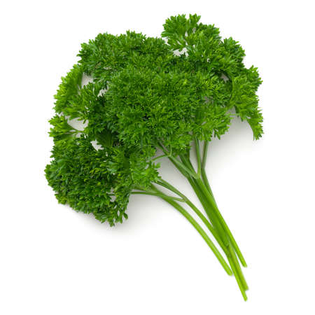 Parsley leaves isolated on white background. Top view