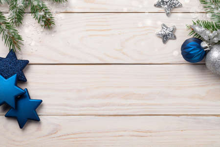 Christmas holidays composition on wooden background. Copy space. Top view
