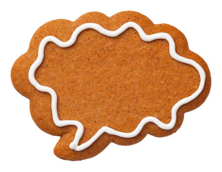 Gingerbread speech cloud cookie isolated on white background. Top view Stock Photo