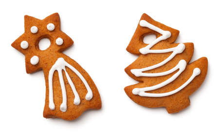 Christmas gingerbread cookies isolated on white background. Top view