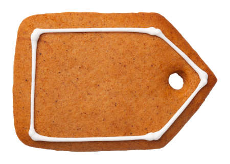 Gingerbread label cookie isolated on white background. Top view