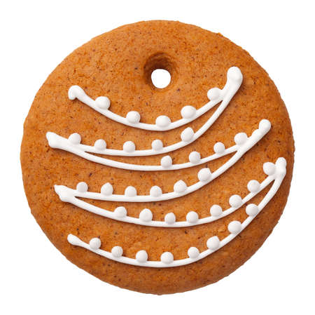 Gingerbread bauble cookie isolated on white background. Top view Stock Photo