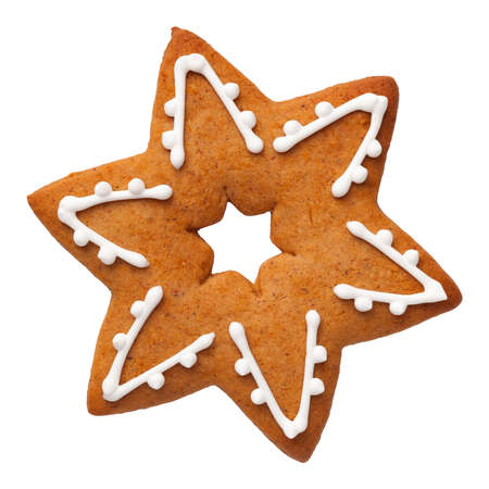 Gingerbread star isolated on white background. Top view