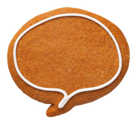 Gingerbread speech bubble isolated on white background. Top view Stock Photo
