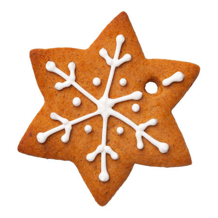 Star shape christmas gingerbread isolated on white background. Top view Stock Photo