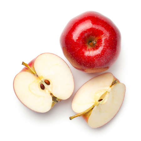 Red apples isolated on white background. Gala apple. Top view