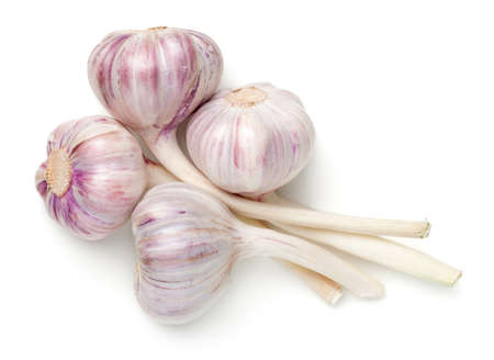 Young garlic isolated on white background. Top view, flat lay Standard-Bild