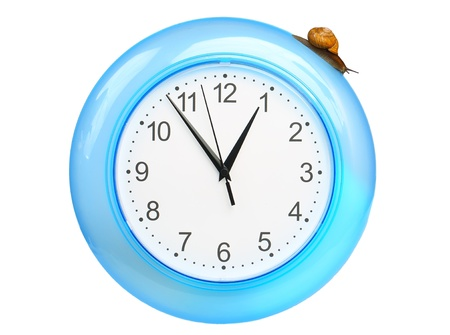 grape snail: Grape snail climbing on a clock, isolated on white Stock Photo