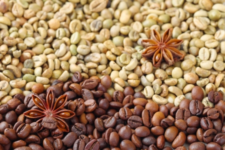 Green and brown coffee beans with anise stars, close up photo
