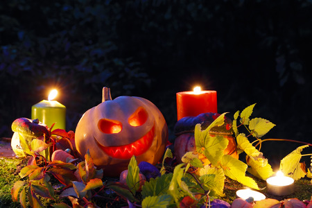 Halloween pumpkin lantern with autumn leaves and candies photo
