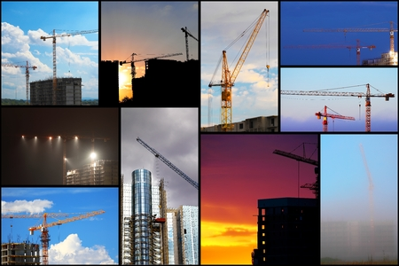 Collage illustration of construction buildings and cranes illustration