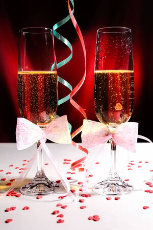 Glasses of champagne with Valentine Day decorations