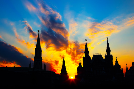 Moscow Kremlin silhouette at beauty sunset background photo