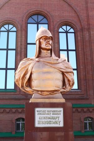 nevsky: Monument of Alexander Nevsky in Pavlodar, Kazakhstan. Alexander Nevsky was the Prince of Novgorod and Grand Prince of Vladimir Editorial