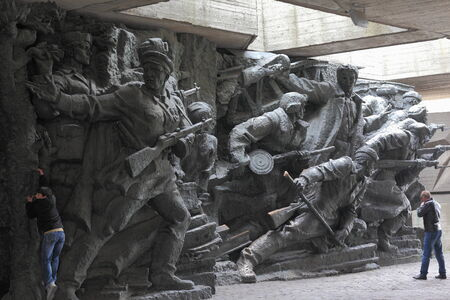 guerilla warfare: WW2 memorial in Kiev Ukraine, chronicling the struggle of the soviet army and the civilian population during WWII