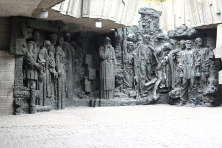 civilian: WW2 memorial in Kiev Ukraine, chronicling the struggle of the soviet army and the civilian population during WWII