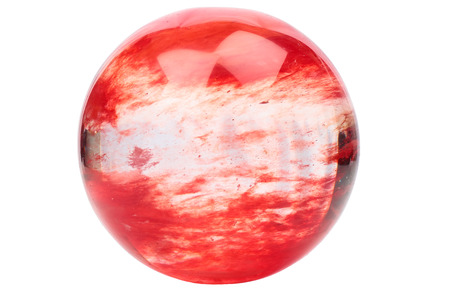 Red crystal ball isolated on white background photo