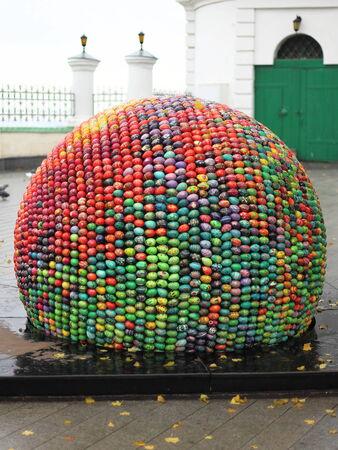 mas: KIEV, Ukraine - OKTOBER 20, 2010  Installation  Sphere of Good and of Spiritual Renaissance ; designed by Oksana Mas