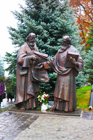 Saints Cyril and Methodius statue in Kiev Pecherskaya Lavra. They are credited with devising the Glagolitic alphabet.
