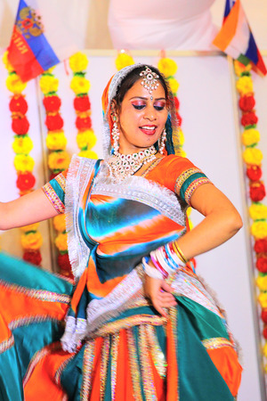 KRASNODAR - Russia, MAY 17, 2013: Indian woman dancing on the indian culture exhibition photo