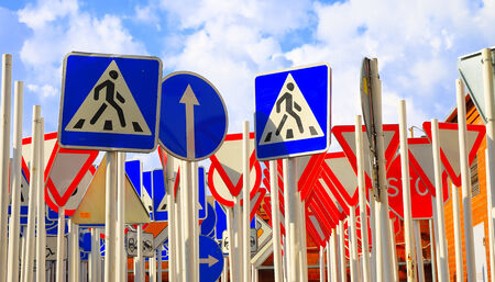 Groud of road signs and blue sky. photo