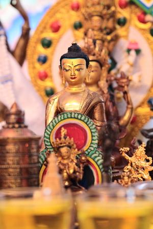 tibetian: The golden tibetian Buddha statuette, close up Stock Photo
